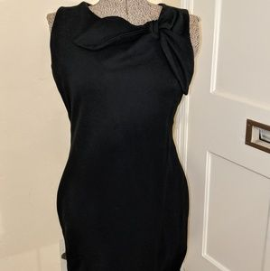 Bow neckline wiggle little black dress